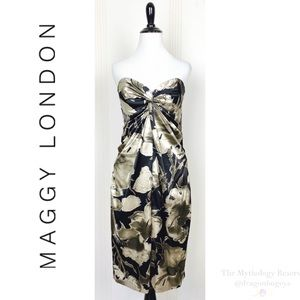 Maggy London Strapless Floral Dress